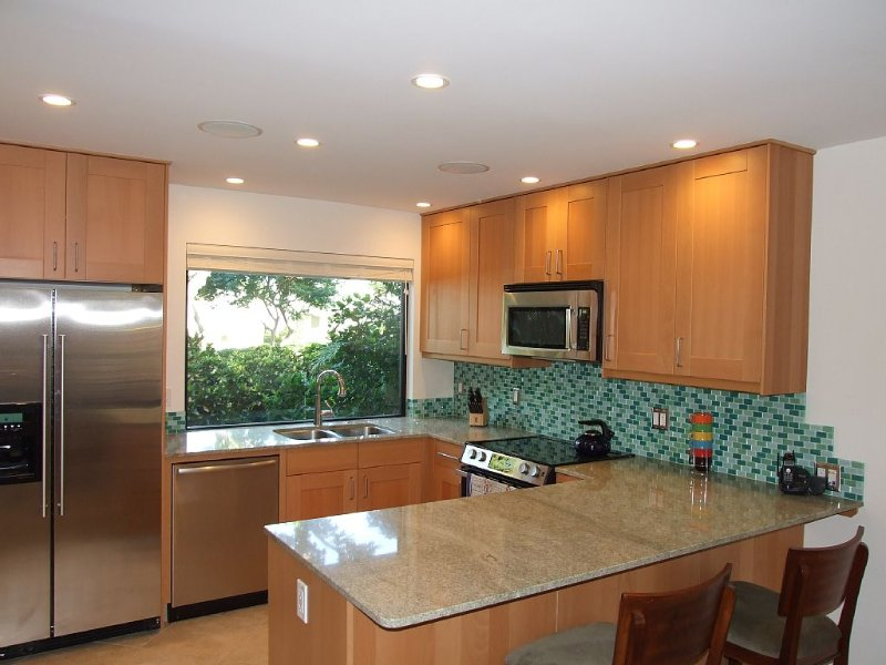 Modern Kitchen - all stainless appliances, granite counter tops, breakfast bar