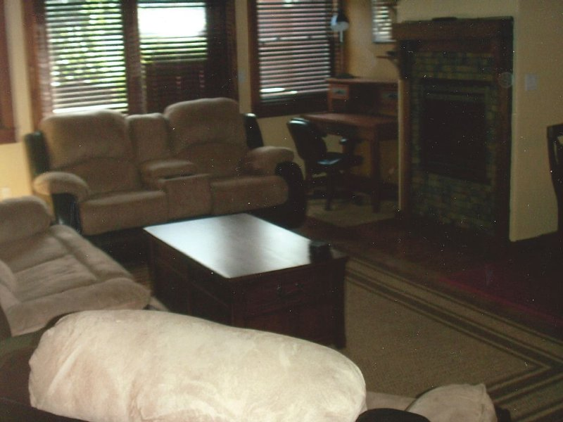 Living Room with fireplace with flat screen above