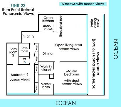 Unit 23 floor plan: It's a deluxe unit with 1767 sf- Blue denotes beach views!