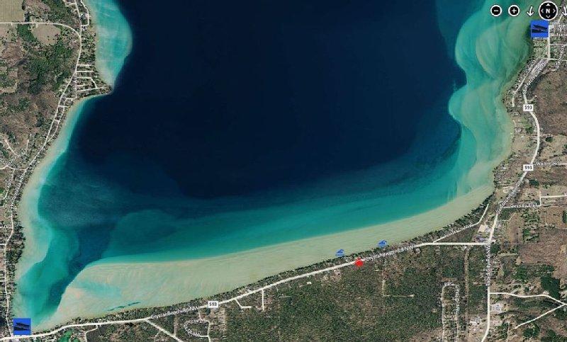 The Torch Lake Sandbar from above