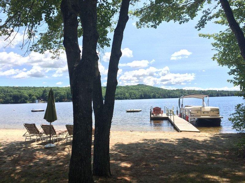Dock fits 25' boat (not included) swim dock, 70' sandy beach, canoe, paddle boat