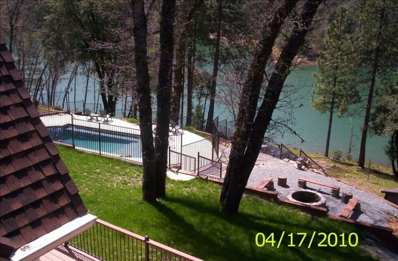 view of back yard from balcony