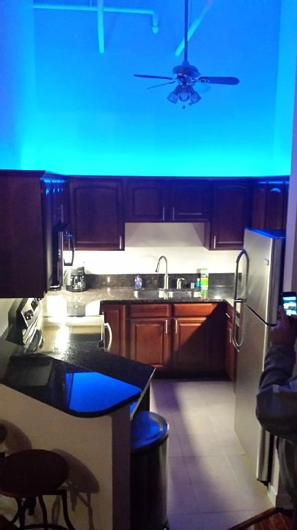 LED lighting above kitchen can be any color for accent.  Garbage shoot is close.