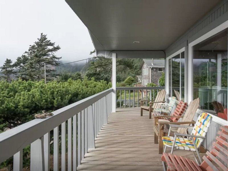 front porch with expansive ocean view