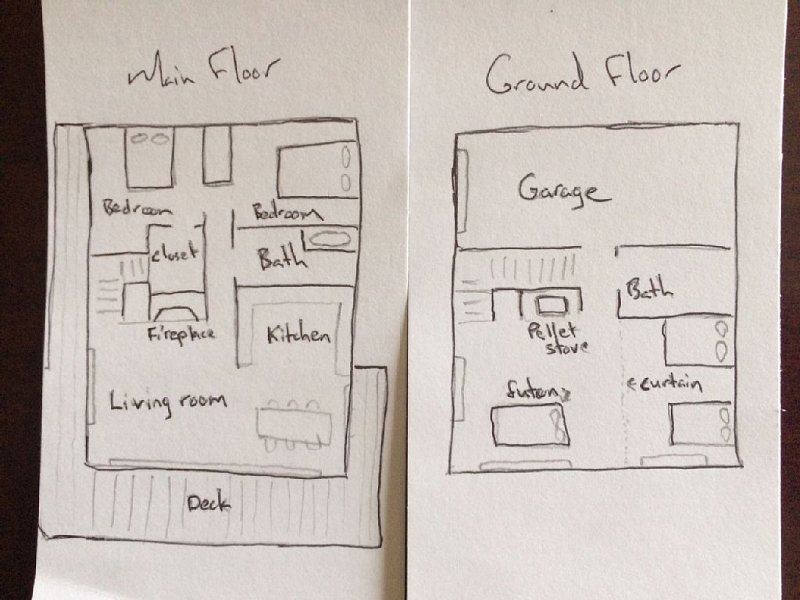 Rough Floor Plan. Ocean views from both floors