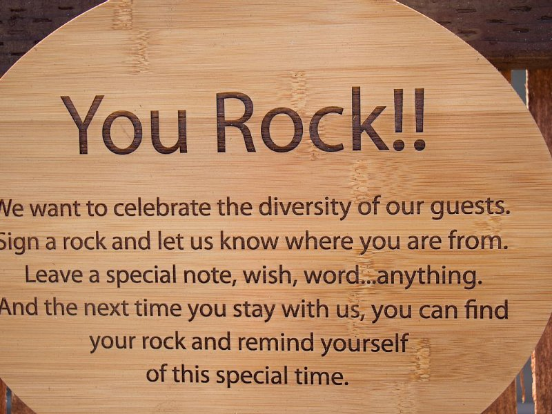 Sign a rock in our rock garden to mark your stay!