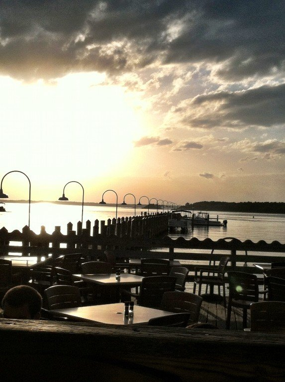 Sunset over the Rehoboth Bay from the deck at Rusty Rudder in Dewey