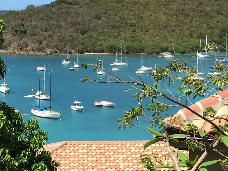 Great Cruz Bay location, walk to town, very private,  large outdoor deck/porch, holiday rental in Cruz Bay