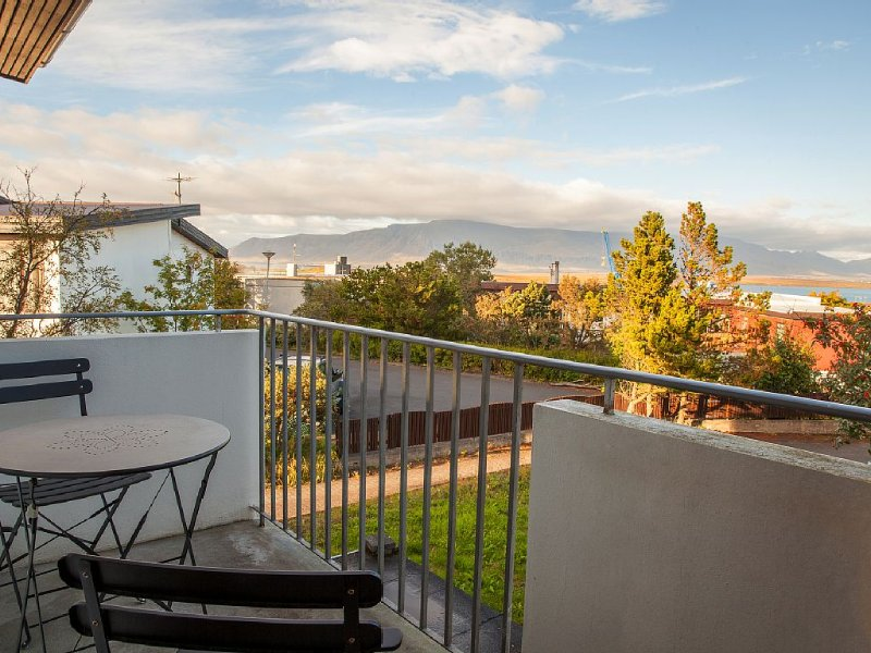 Kitchen balcony with view over Mt. Esja
