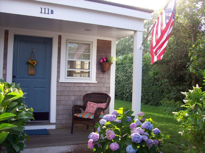 Front door and porch of cottage