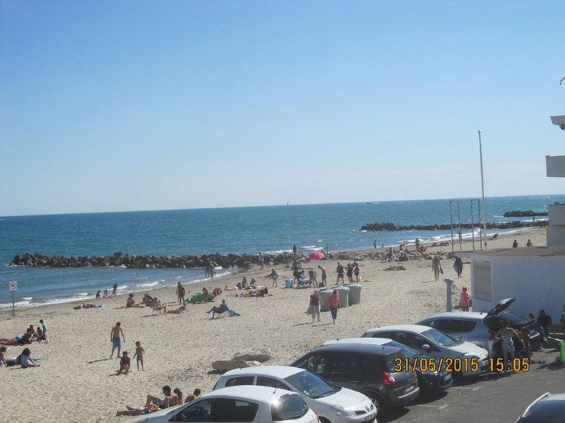 F3 sur la plage avec double vue mer et étangs, alquiler vacacional en Palavas-les-Flots