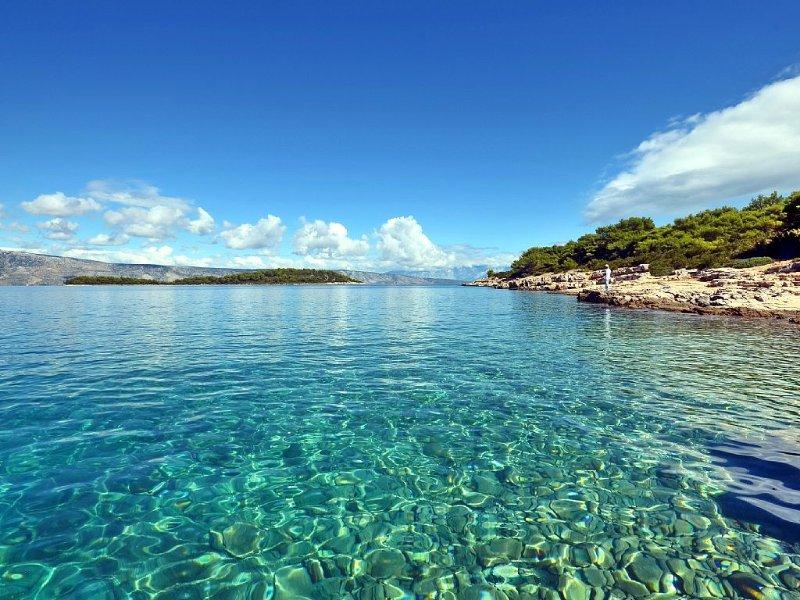 Crystal blue sea near Villa Agava