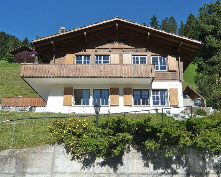 Neu renovierte, ruhige 3 Zimmerwohnung mit wunderbarer Aussicht auf die Bergwelt – semesterbostad i Berner Oberland
