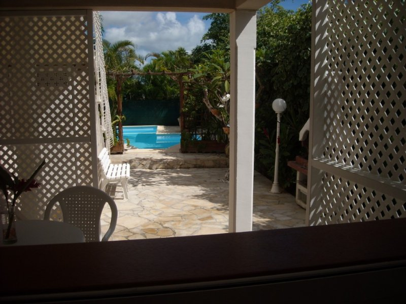 VIEW FROM THE KITCHEN ON THE GARDEN AND THE SWIMMING POOL