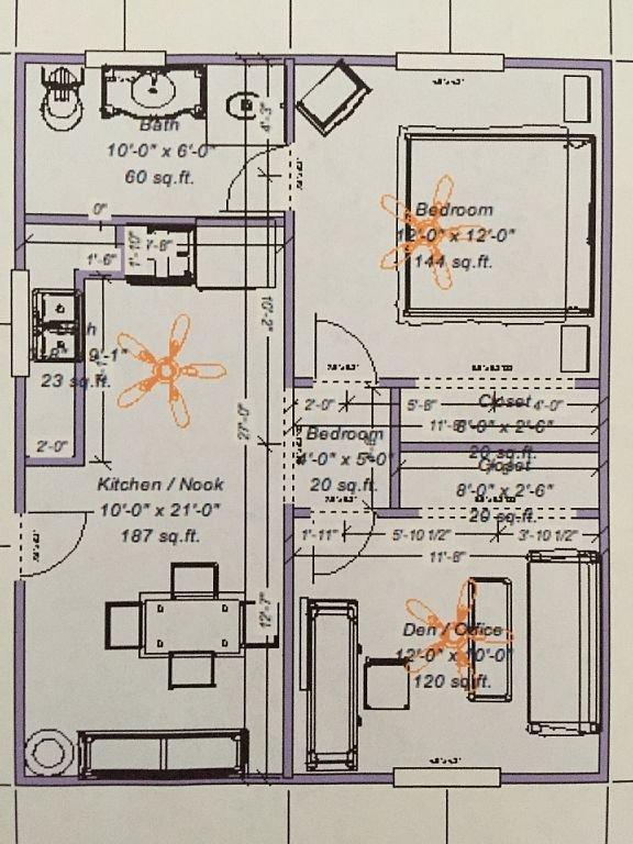 Interior full floor plan approx 600 sqft.
