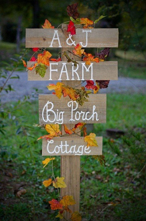 Rustic sign which welcomes our guests.