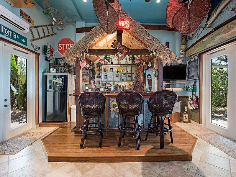 Key West Style Tiki Bar. One of a kind, every item personally selected by Owner