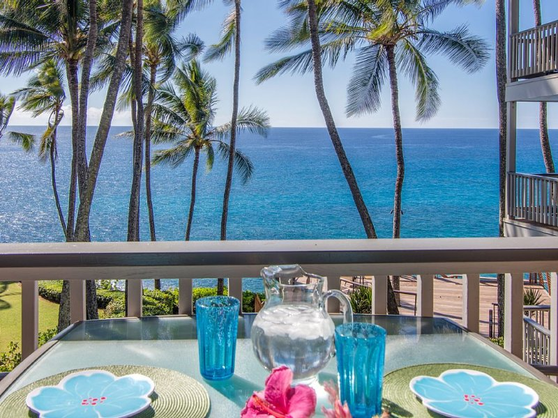 Oceanfront, Palm Trees and the Beautiful Blue Pacific Ocean...Poipu Palms 202!, holiday rental in Poipu