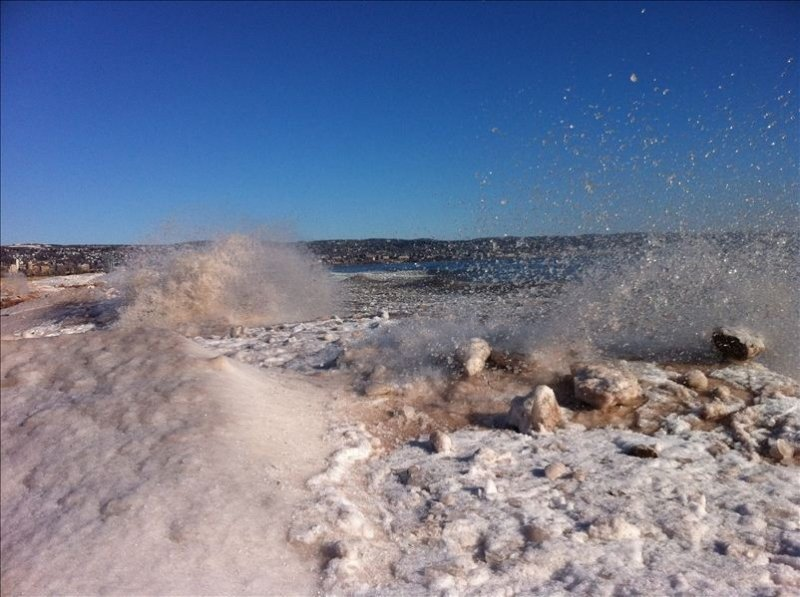 Ice pack along Minnesota Point in February.  Note Duluth in the background.