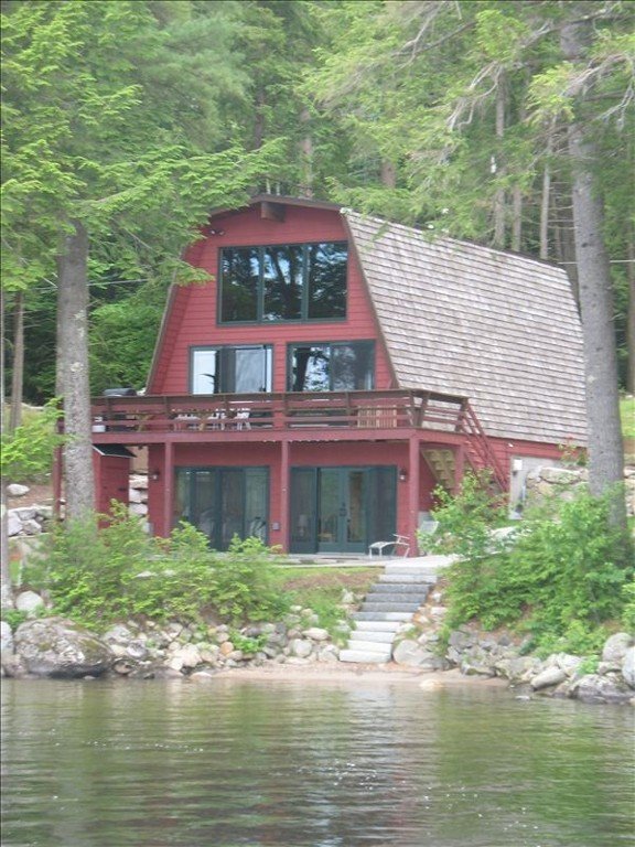 View from the lake with granite steps to beach.
