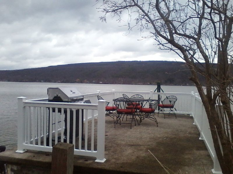 View of the patio on top of the boat house