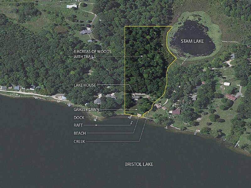 6 acres of property with frontage on 2 lakes connected by a stream
