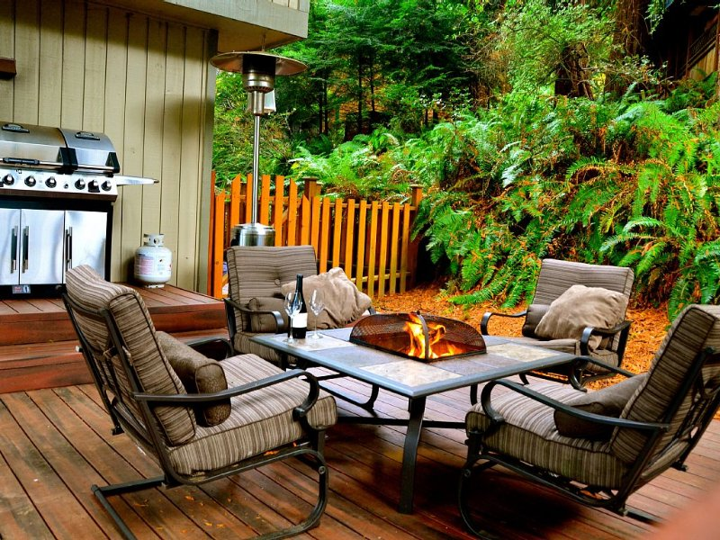 Comfortable furniture with fire pit and outdoor grill