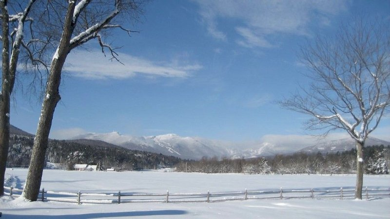 View of the mountain from Stonybrook. Lots of open fields for xcountry skiing.
