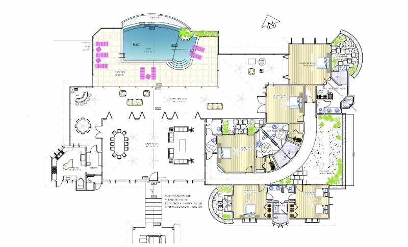 floor plan can accommodate as many as 5 couples or 3 families of 4 comfortably