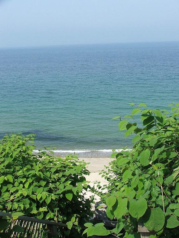 Escalera al otro lado de la cabaña a la playa privada, vista a la bahía de Cape Cod