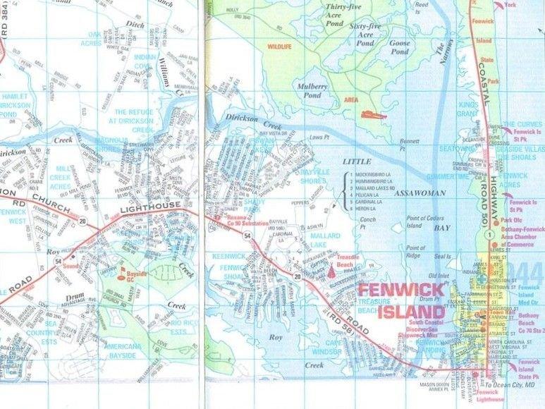 Map of Fenwick Island for fun activities