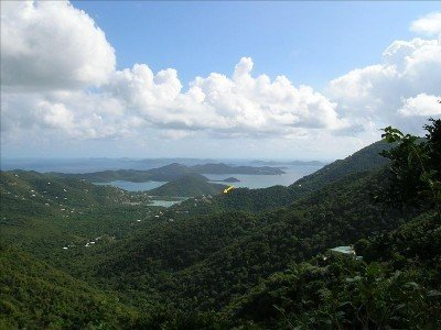 Coral Bay, St. John. The yellow arrow indicates location of the villa.