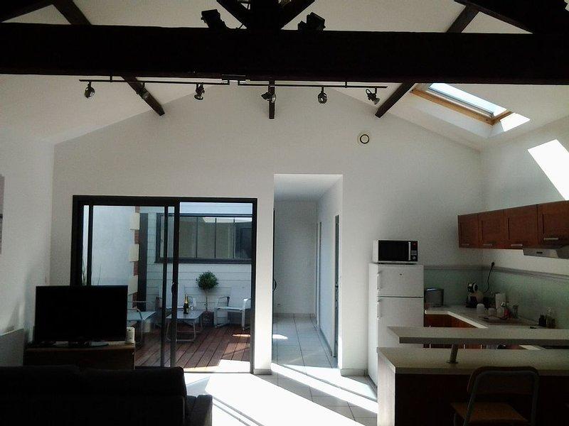 Piéce principale de 40 m2 donnant sur le patio et cuisine ouverte