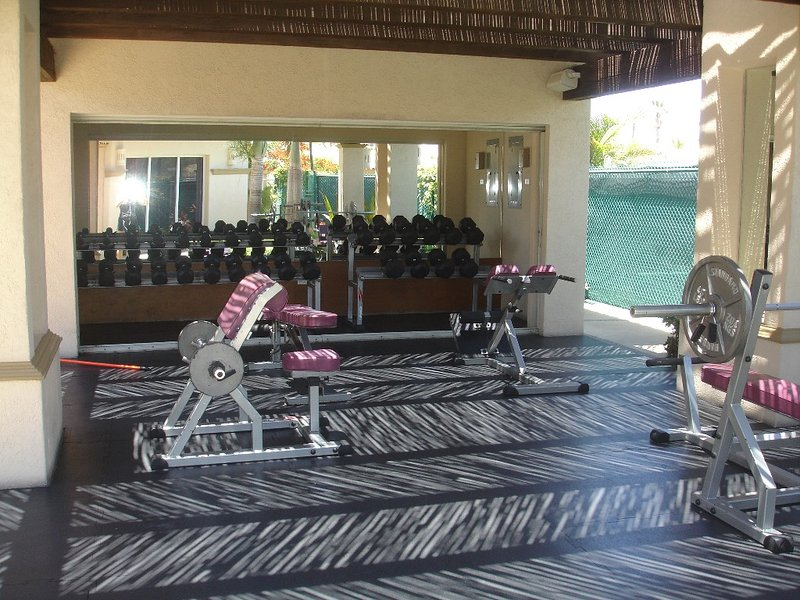 Fully equipped gym---complete set of weights. Next to tennis court