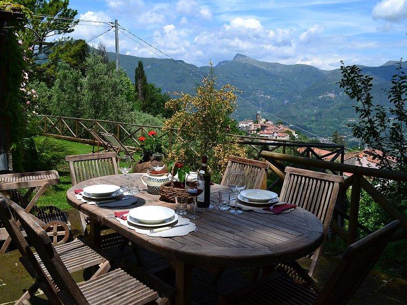 Schönes, freistehendes Haus mit privatem Garten und Panorama-Blick, holiday rental in Piano di Mommio