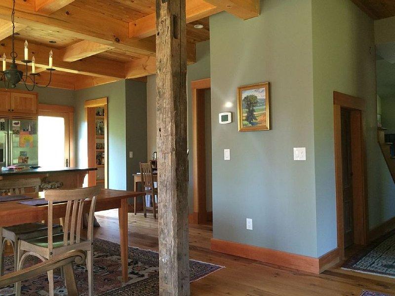 Reclaimed hemlock flooring.  Reclaimed doors throughout.