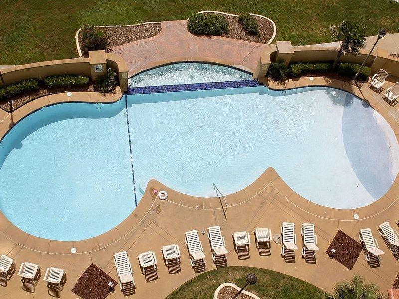 Outdoor pool taken from balcony