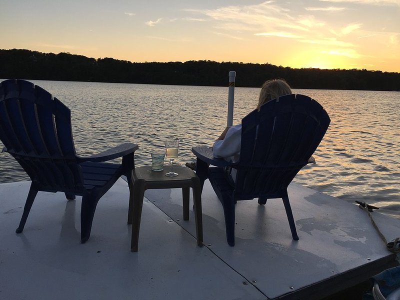 Enjoy a quiet evening or morning on the boat dock with a cocktail or coffee!
