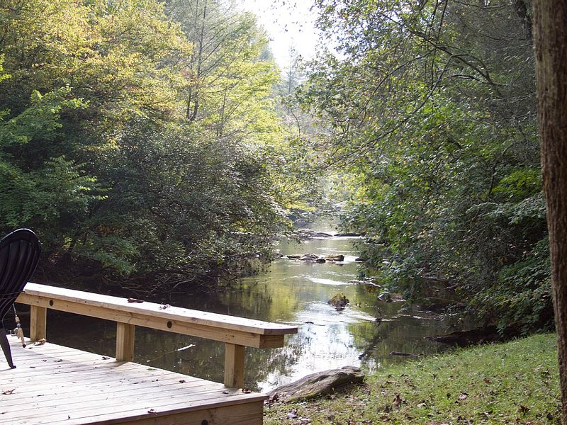 The beautiful view down Fightingtown Creek- nearly 200' of creek front to enjoy!