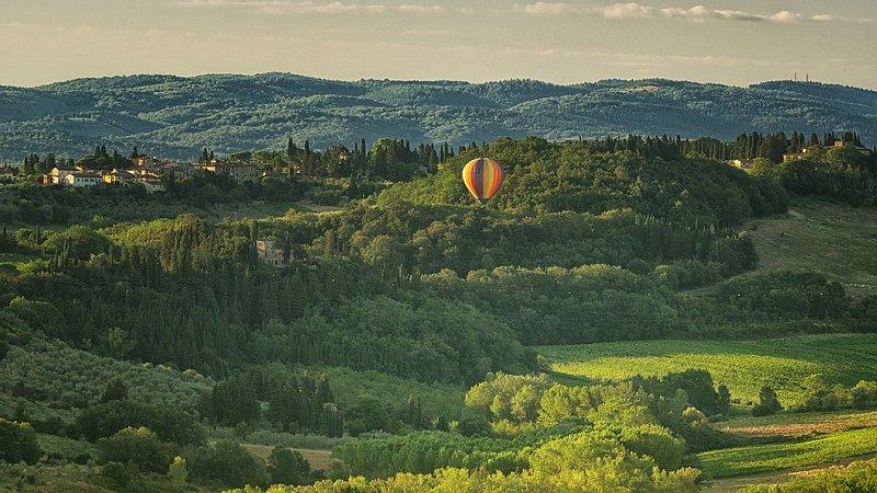 Villa con panorama mozzafiato sulle colline del Chianti e grande giardino, vacation rental in Lucardo