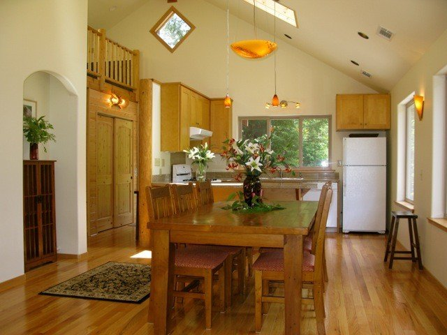 Upstairs dining and kitchen