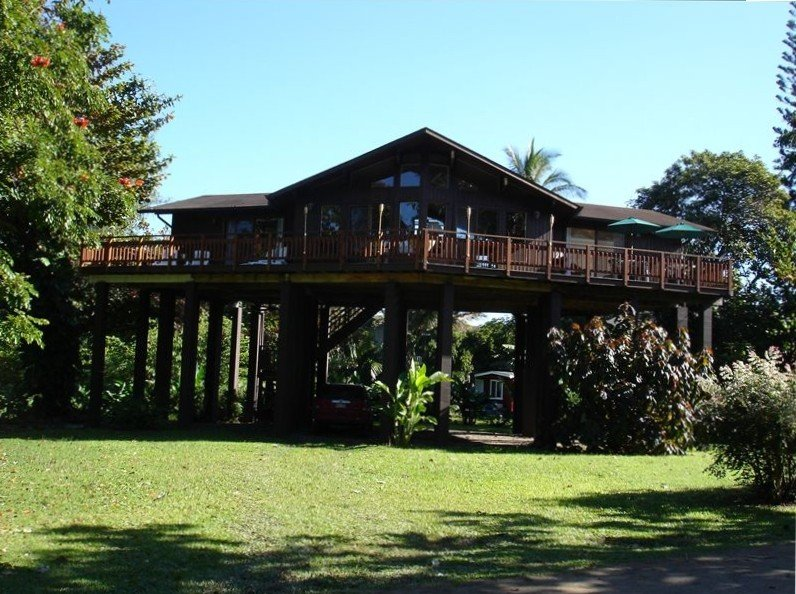 View of home surrounded by the large tropical yard