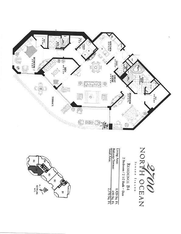 Floor Plan (not furniture plan). Great room, den bedrooms have balcony access