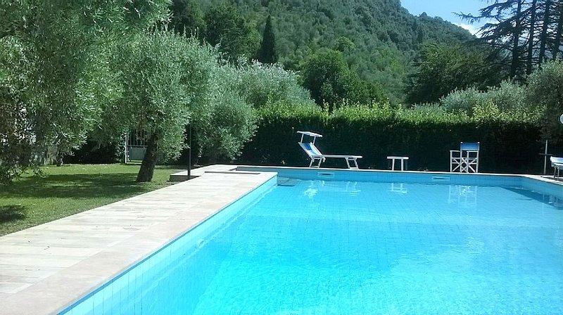 Ferienwohnung mit Pool, Terrasse, Garten. Hunde willkommen. Strand ca. 8 km., casa vacanza a Valdicastello Carducci