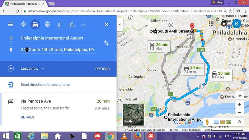 It's only 20 mins driving from Philadelphia International Airport to the apt. Re