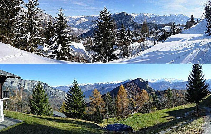 Chalet spacieux avec vues à couper le souffle en Valais central (Suisse), holiday rental in Ovronnaz
