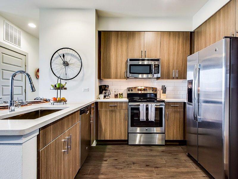 Fridge/Freezer, Stove/Oven, Microwave, Dishwasher, Toaster, Coffee Maker, etc.