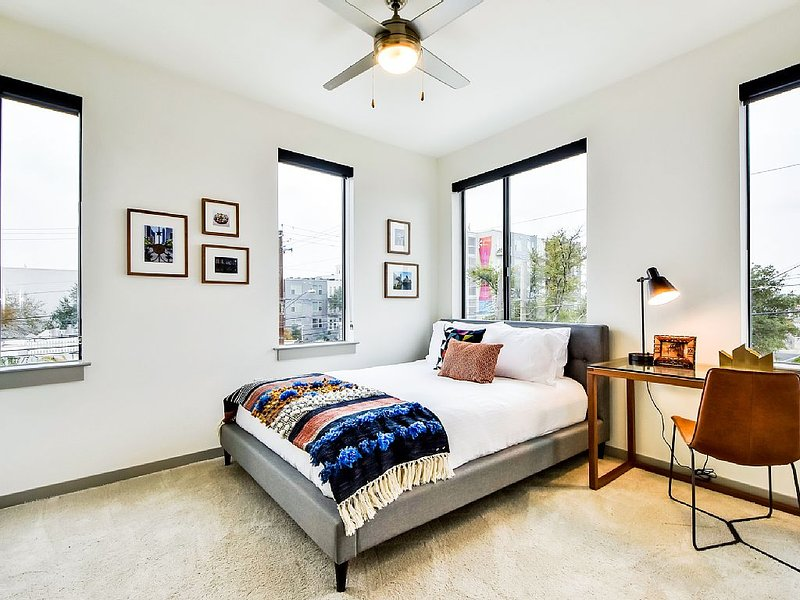 Master bedroom. Great views and a lovely work space.