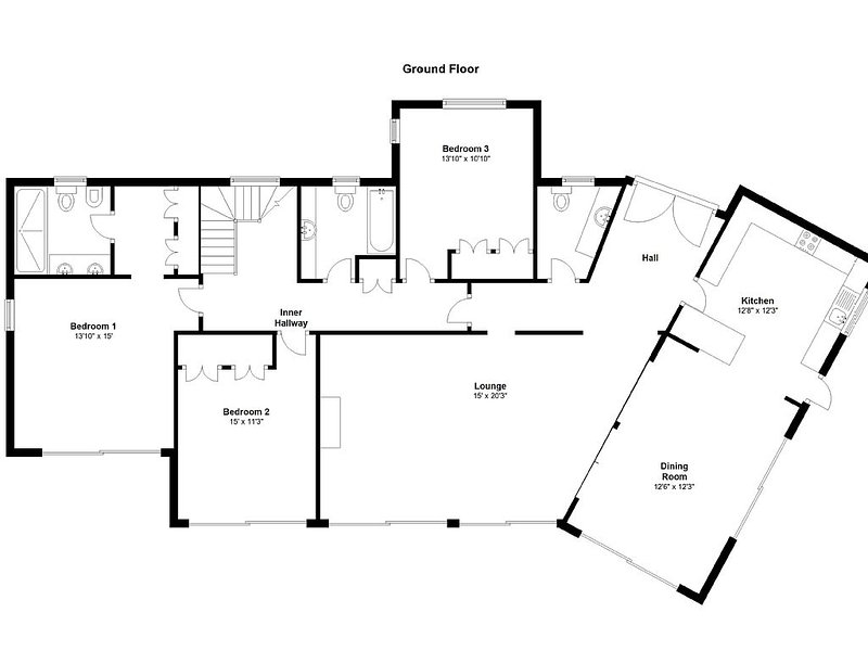 Ground floor plan. Bedrooms 1,2, Lounge, Dining Area open to pool terrace.