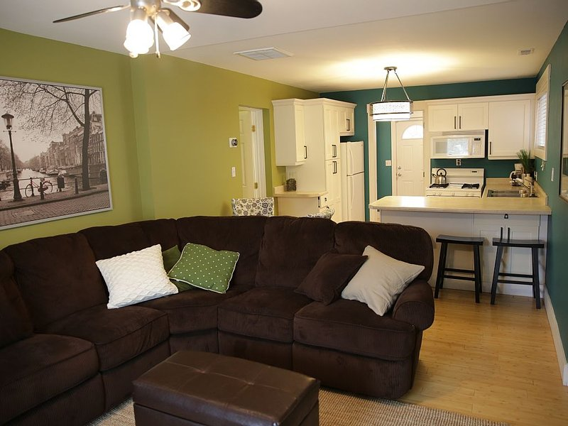 Comfy sectional couch with recliner seats at both ends